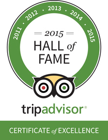 TripAdvisor Hall of Fame awarded for Consistent Excellence in service 2011-2015